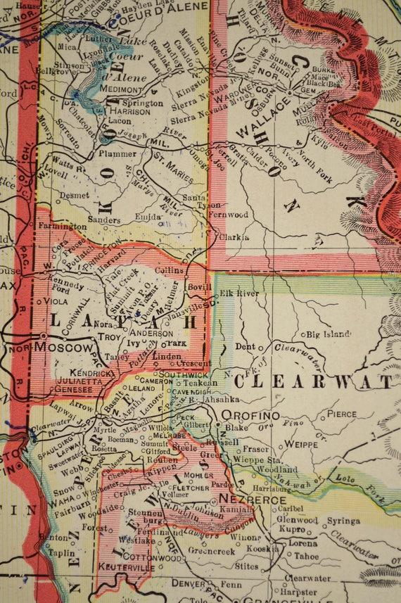 Kendrick Idaho Map.Idaho Map Of Idaho Wall Art Decor Large Antique Colorful Etsy