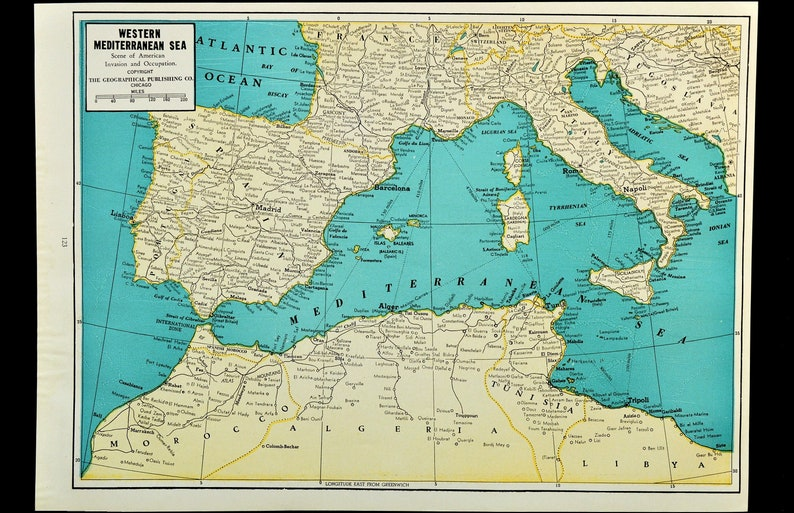 Mediterranean Map of the Mediterranean Sea Wall Art Decor   Etsy