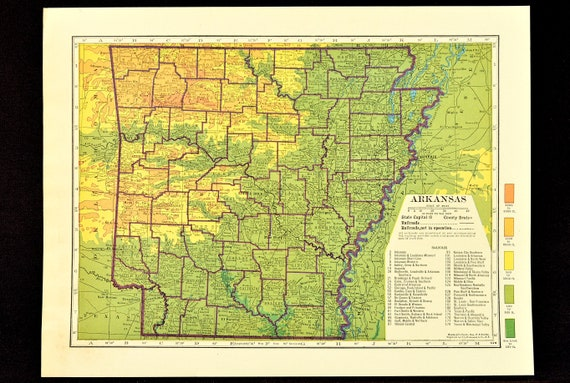 Arkansas Map of Arkansas Topographic Map Wall Art Decor Colorful Colored  Wedding Gift Idea For Him Print Old