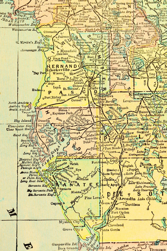 Antique Florida Map Of Florida Wall Decor Art Original Gift Etsy