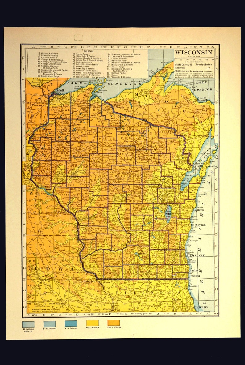 Wisconsin Map Of Wisconsin Wall Art Decor Topographic Map Etsy