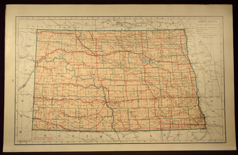 North Dakota Map of North Dakota Road Map Wall Decor Art Highway LARGE  Antique Original Wedding Gift Idea For Him Print
