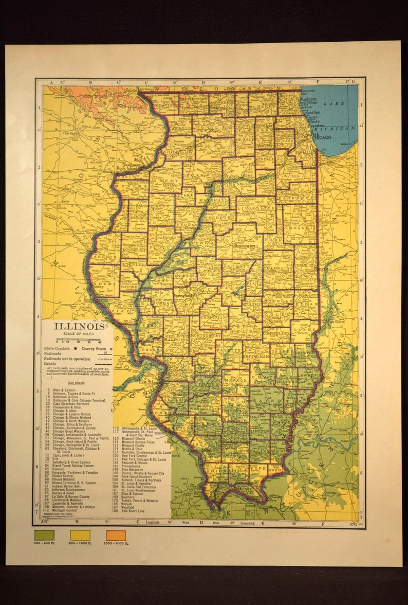 Illinois Map of Illinois Wall Decor Art Topographic Map Colorful Colored on illinois state map missouri, map of streets in hannibal, map downtown hannibal,