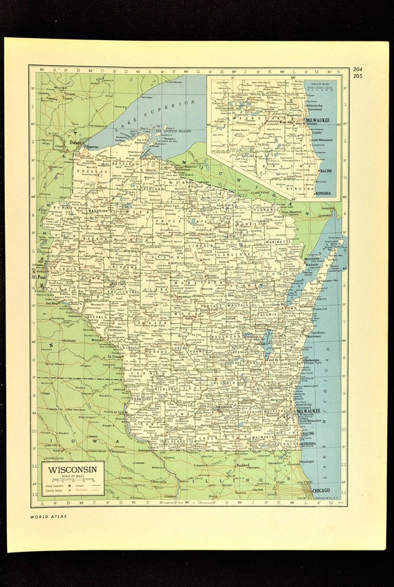 Wisconsin Map Of Wisconsin Wall Decor Art Vintage Old Original Etsy