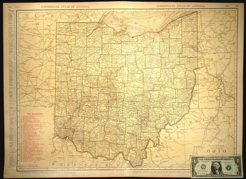 Ohio Map of Ohio Wall Decor Art EXTRA LARGE Railroad Antique Original  Wedding Gift Idea For Him Print
