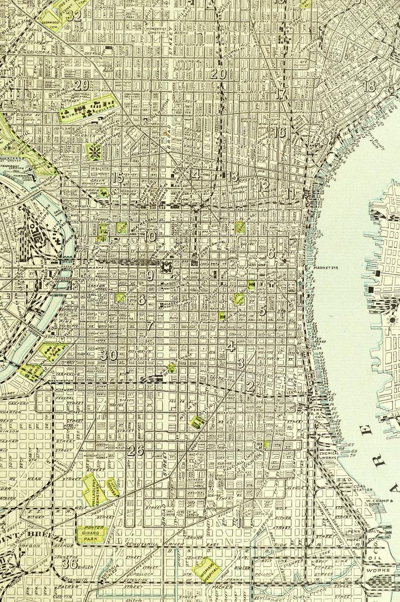 Philadelphia Map of Philadelphia Street Map Wall Art Decor | Etsy on