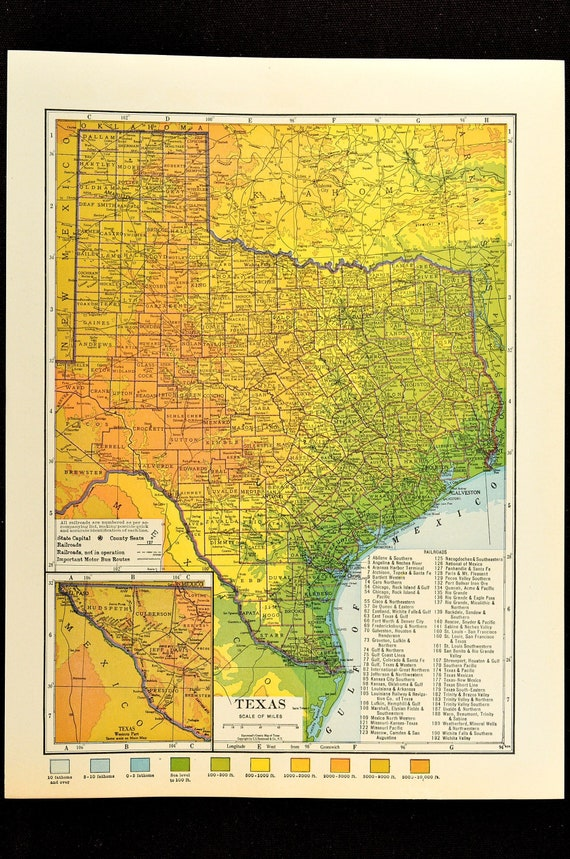 Texas Map Of Texas Topographic Map Wall Decor Art Colorful Etsy