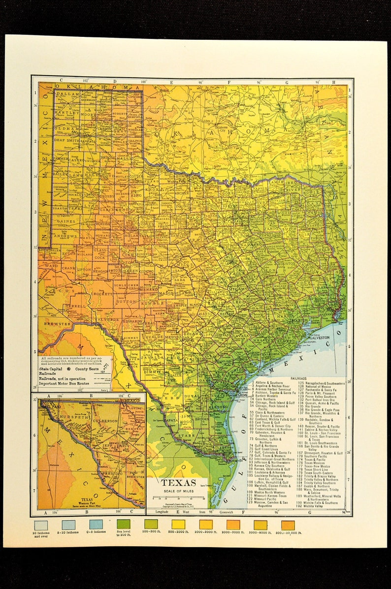 Physical Map Of Texas.Texas Map Of Texas Topographic Map Wall Decor Art Colorful Etsy