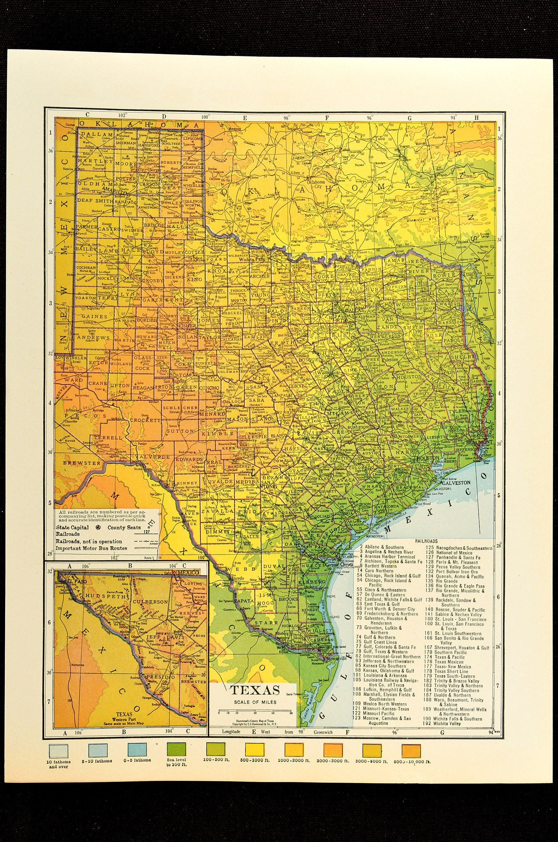 Map Of Texas Please.Texas Map Of Texas Topographic Map Wall Decor Art Colorful Colored Topo Wedding Gift Idea For Him Print