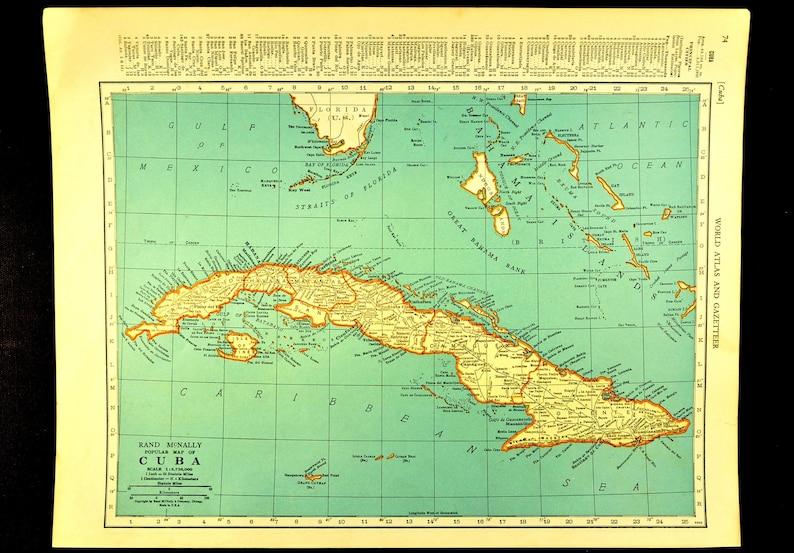 Cuba Map of Cuba Wall Decor Art Vintage Caribbean Sea 1930s | Etsy