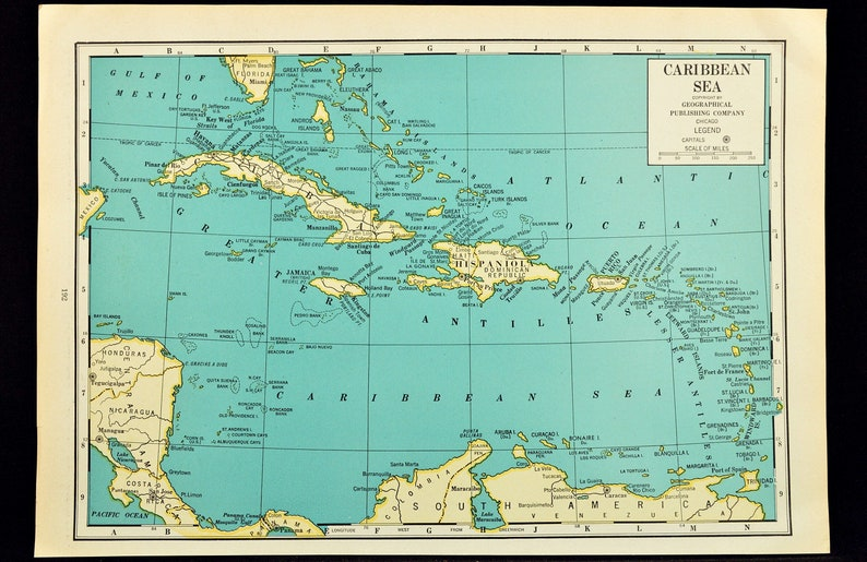 West Indies Map of the West Indies Caribbean Map Wall Art Decor Sea Vintage  1940s Original Wedding Gift Idea For Him Print