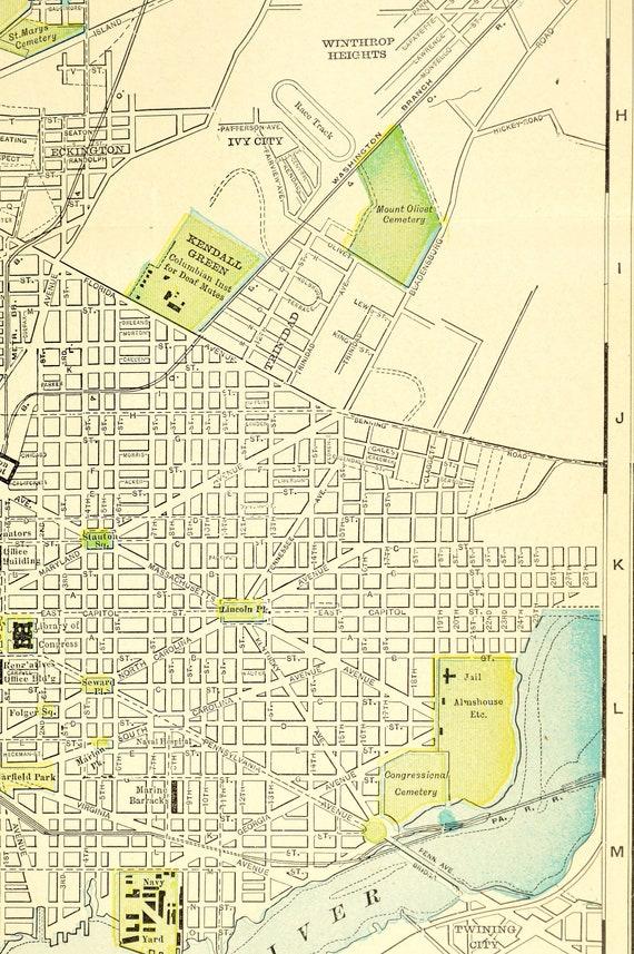 Washington DC Map of Washington DC Street Map Wall Decor Art LARGE Antique  D C Wedding Gift Idea For Him Print Old