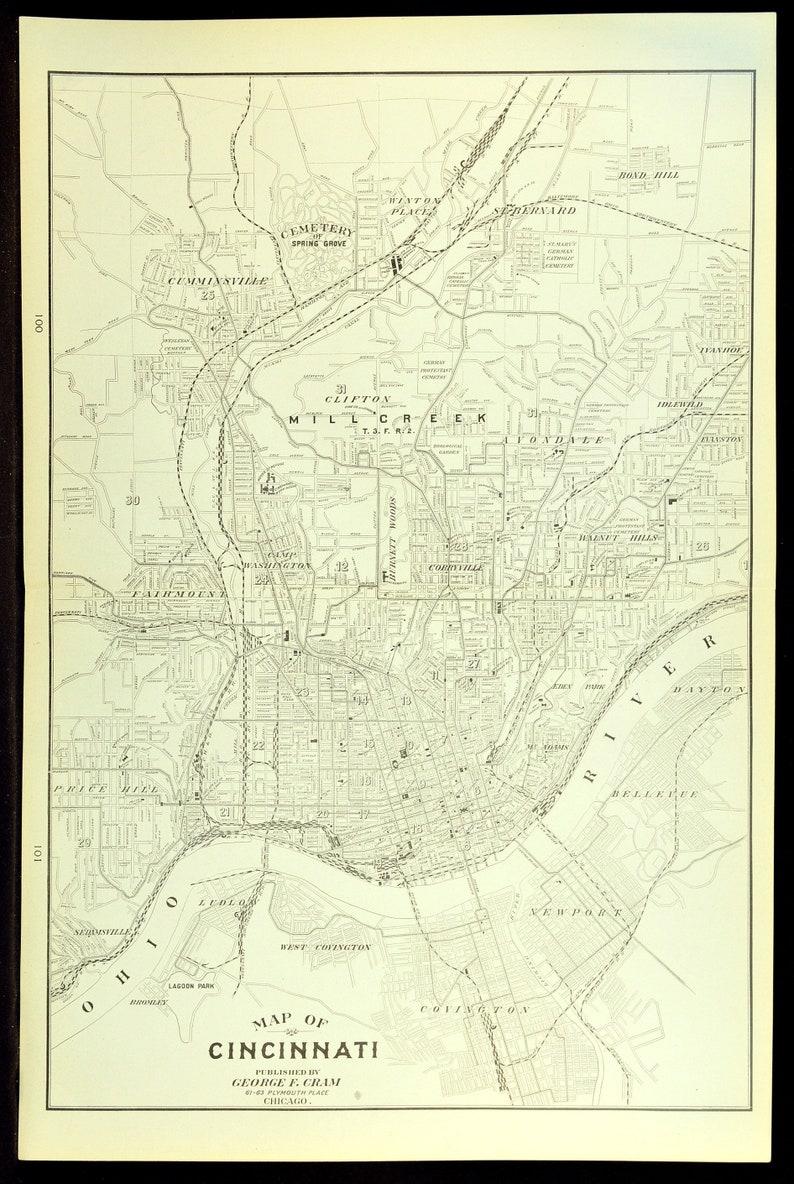 Cincinnati Map of Cincinnati Street Map Wall Art Decor LARGE | Etsy