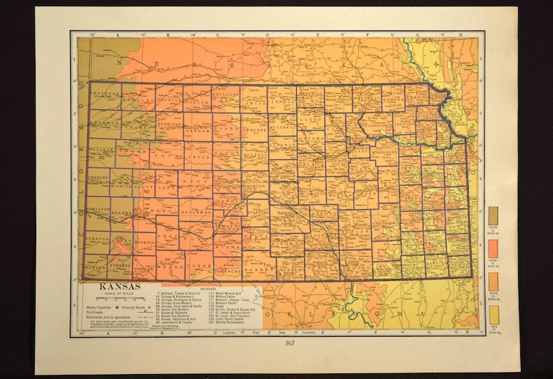 Kansas Map of Kansas Wall Art Decor Topographic Map Colorful Colored on terrain maps with a key, physical map of japan with key, united states map with elevation key, physical characteristic map key, map of us no key, physical map key scale,