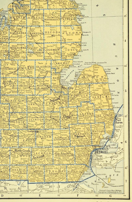 Michigan Map of Michigan Wall Art Decor Vintage Original Yellow Blue  Railroad Wedding Gift Idea For Him Print