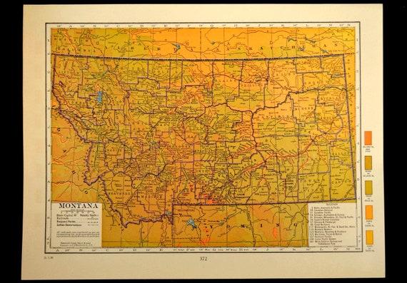 Montana Map Montana Topographic Map Colorful Colored Topo Etsy - Montana topo map