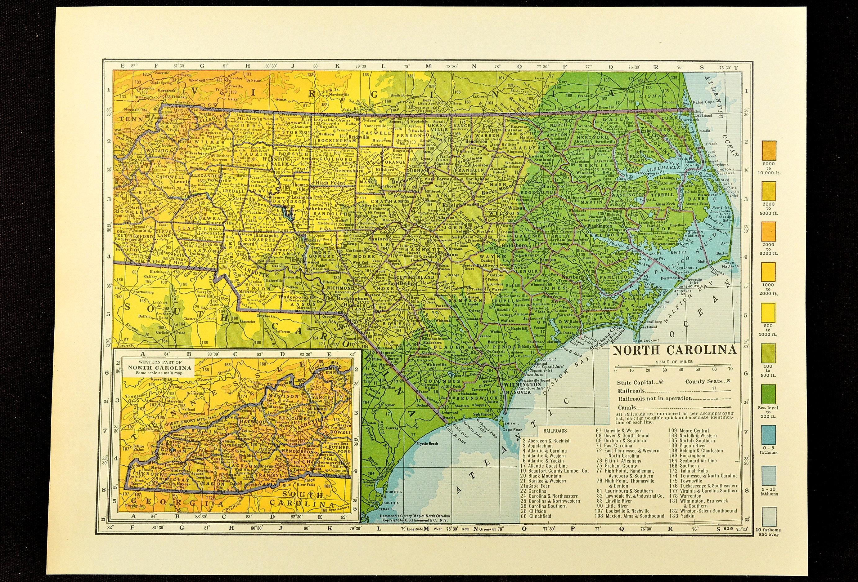North Carolina Map Of North Carolina Topographic Map Wall Etsy