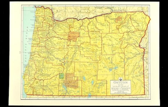 Vintage Oregon Map.Oregon Map Of Oregon Wall Art Decor Colorful Yellow Vintage Etsy
