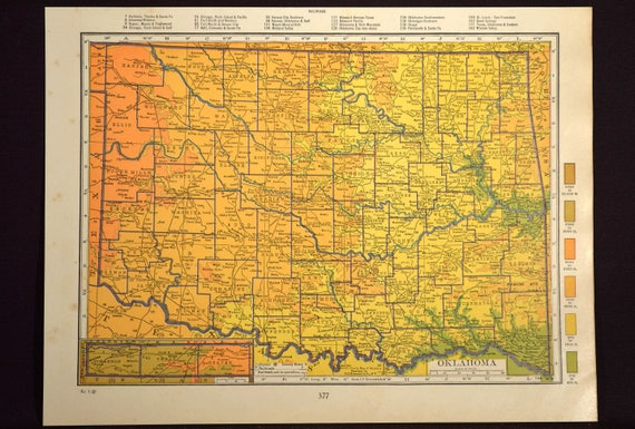 Oklahoma Map Oklahoma Topographic Map Colorful Colored Topo | Etsy