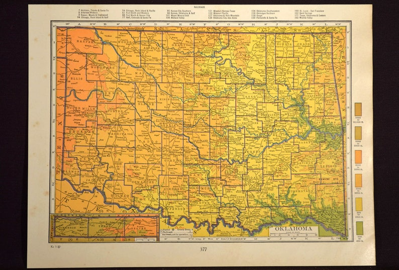 Oklahoma Map of Oklahoma Wall Art Decor Topographic Map | Etsy