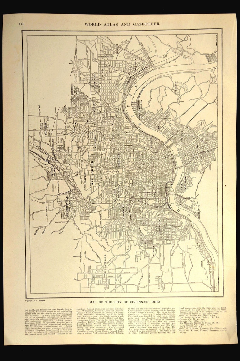 Cincinnati Map of Cincinnati Street Map Wall Art Decor Antique | Etsy