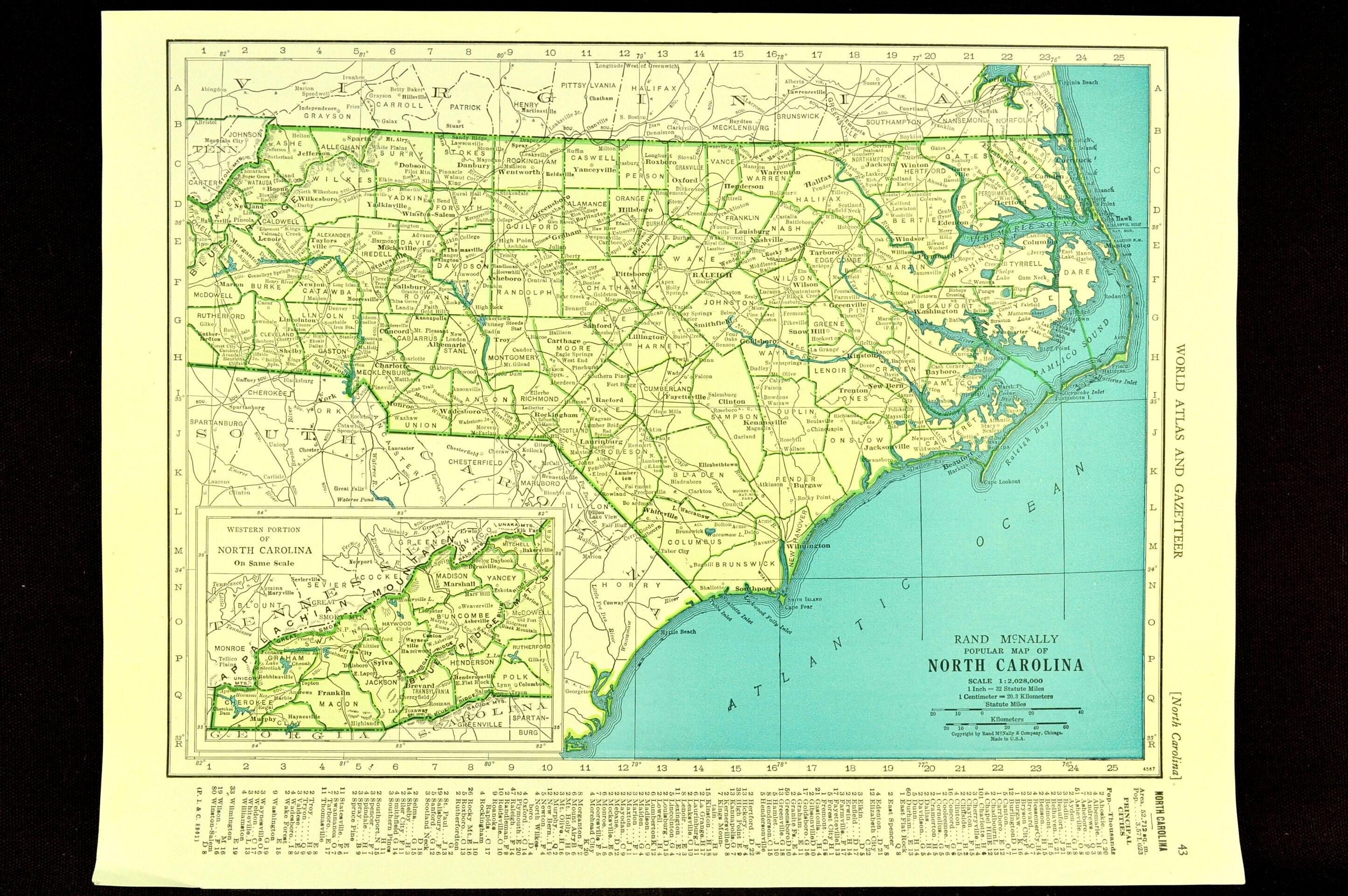 Spindale Nc Map.North Carolina Map Of North Carolina Wall Art Decor Vintage Etsy