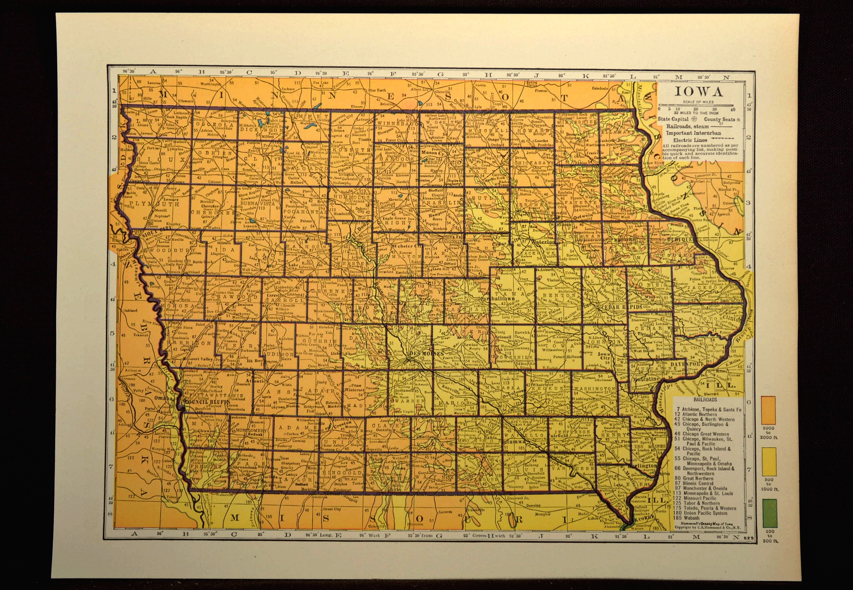 Iowa Map Of Iowa Topographic Map Colorful Colored Gift Idea Etsy