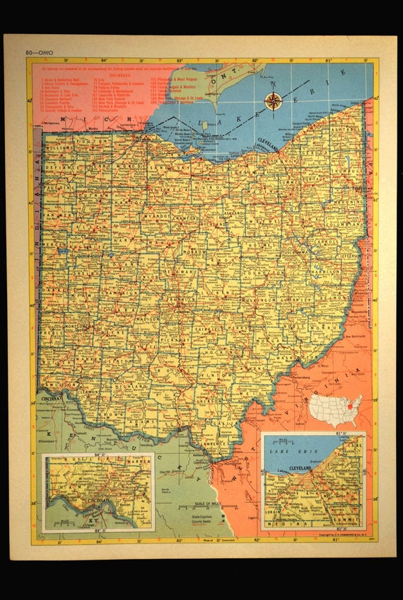 I 80 Ohio Map.Ohio Map Of Ohio Wall Decor Art Vintage 1950s Original Gift Etsy