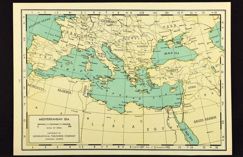 Mediterranean Sea Map of the Mediterranean Sea Wall Art Decor Vintage Italy  Spain France Greece Original Gift Idea Gift For Him Wedding Gift
