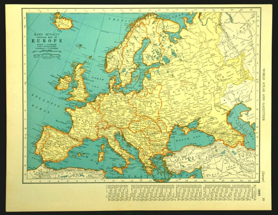 Europe Map of Europe Wall Art Decor Vintage Mediterranean 1930s Original  Traveler Gift Idea Gift For Him Wedding Gift Lithograph Print Old