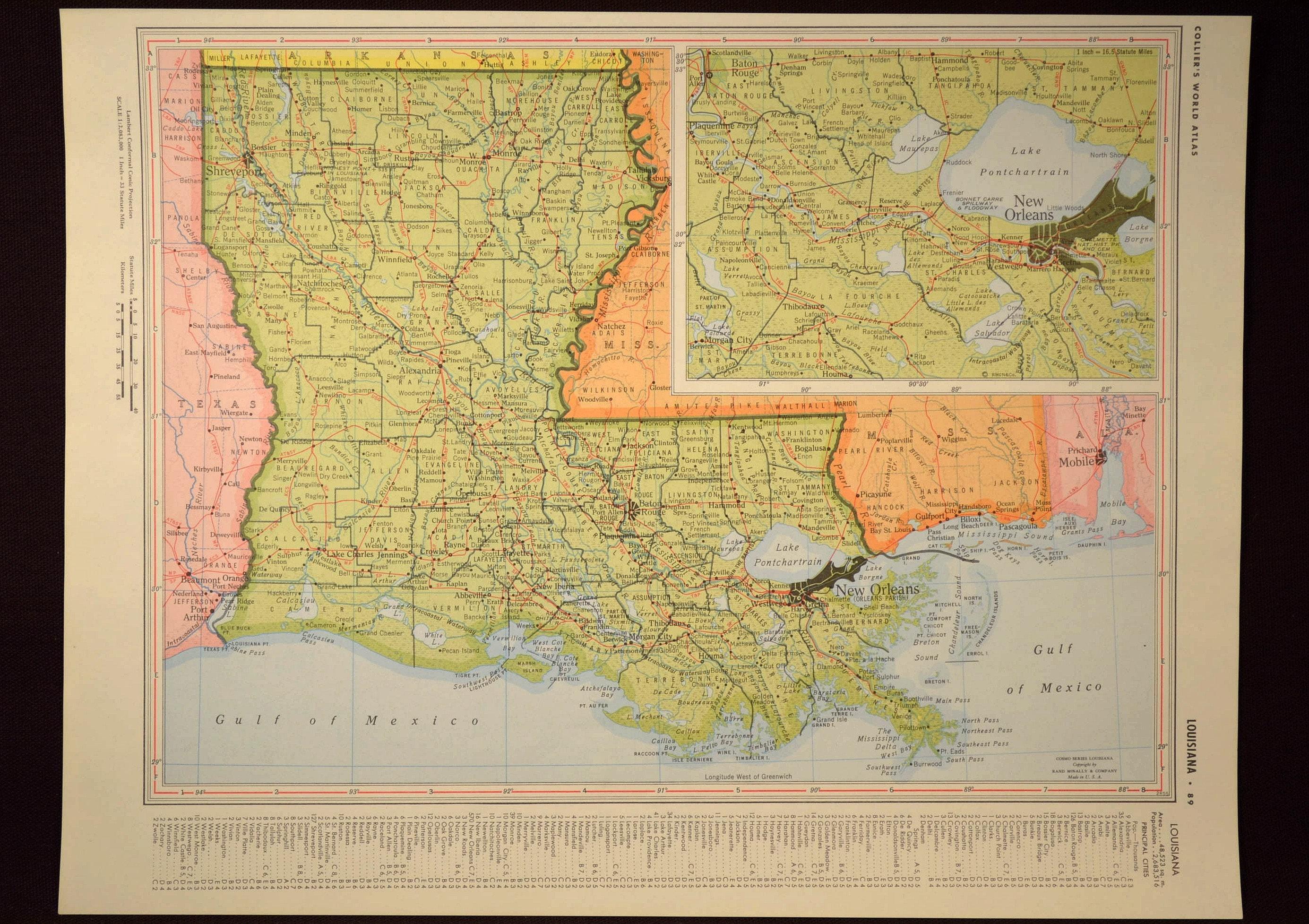 I 20 Louisiana Map.Louisiana Map Of Louisiana Wall Art Decor Green Original Etsy
