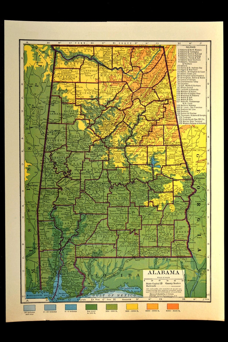 Alabama Map of Alabama Topographic Map Wall Art Decor Colorful Topo Wedding  Gift Idea For Him Print