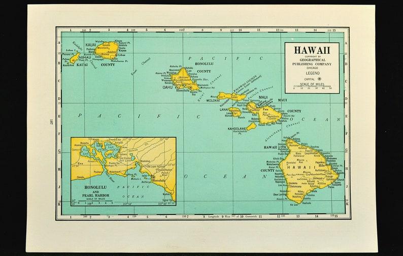 Hawaii Map of Hawaii Hawaiian Islands Wall Decor Art Vintage   Etsy