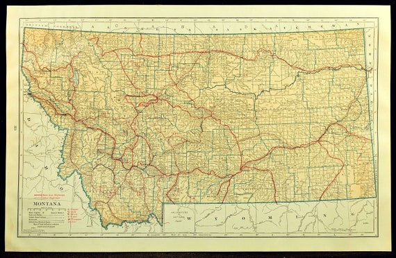 Montana Map of Montana Wall Art Decor LARGE Road Map Highway Antique  Original Wedding Gift Idea For Him Print Old