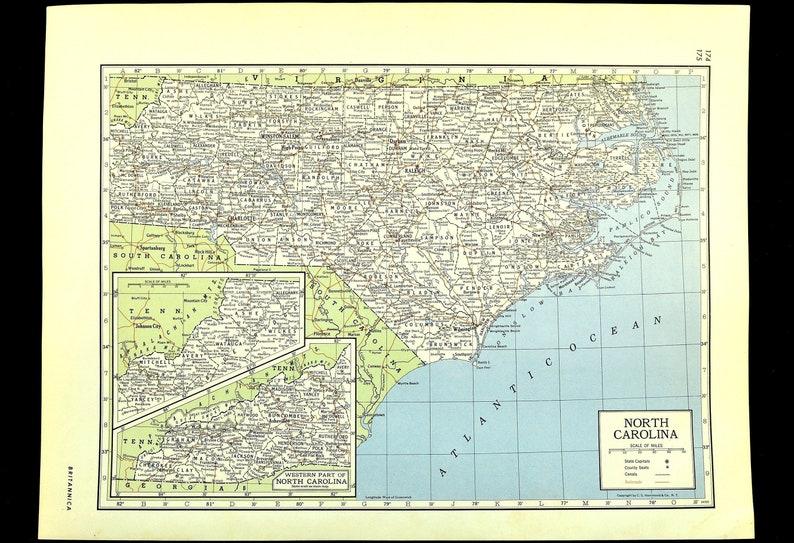 North Carolina Map of North Carolina Wall Art Decor Vintage Old Original Railroad Gift Idea Gift For Him Wedding Gift Old