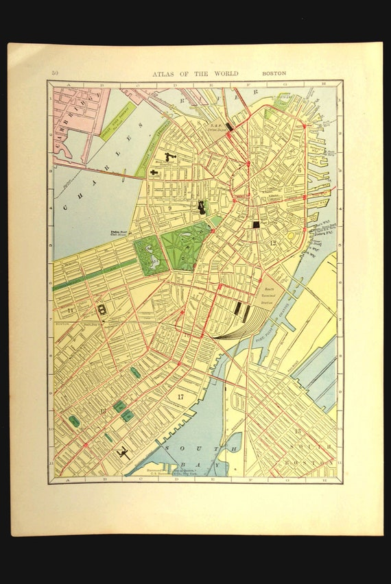 Boston Map Of Boston Street Map Wall Art Decor Antique Etsy