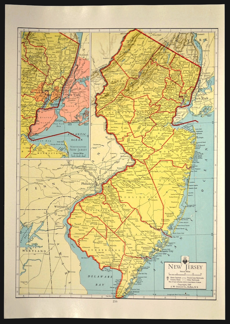New Jersey Map of New Jersey Wall Art Decor Vintage Old 1940s Colorful on