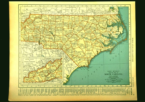 North Carolina Map of North Carolina Wall Art Decor Vintage Old Original  1930s Gift Idea Gift For Him Wedding Gift Lithograph Print