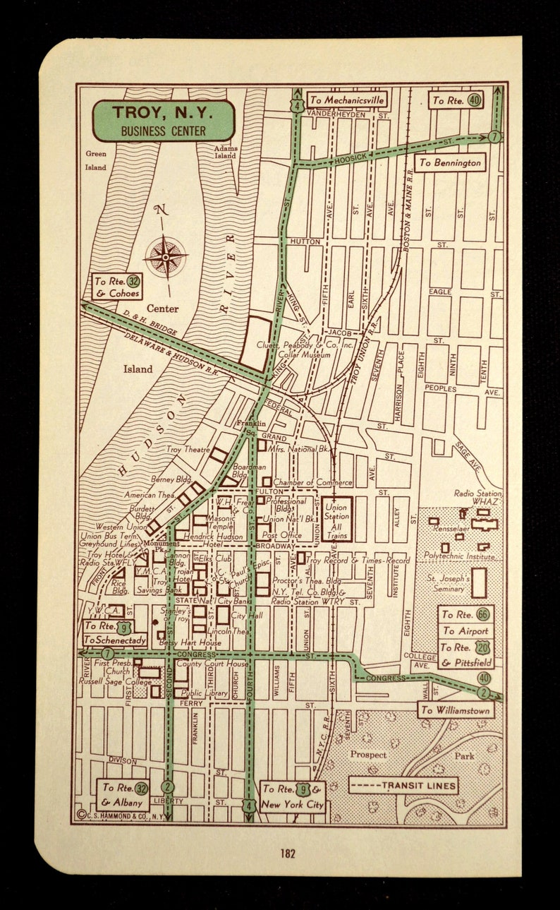 Troy Map of Troy Street Map Wall Decor Art Vintage New York Wedding Gift  Idea For Him Print
