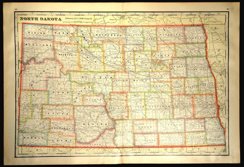 North Dakota Map of North Dakota Wall Decor Art LARGE Colorful County on print map of states, print map of ontario canada, print map of oklahoma city, print map of st. augustine, print map of philadelphia, print map of houston,