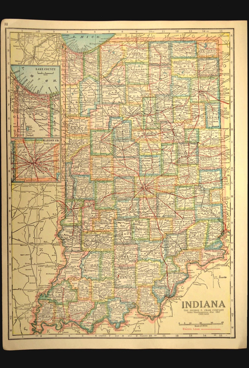 Antique Indiana Road Map of Indiana Map Wall Decor Art Original Highway on missouri highway atlas, indiana road conditions map, louisiana road map atlas, arkansas county road atlas, delorme state atlas, connecticut road map atlas, indiana road closings, indiana and illinois road map, southern indiana atlas, indiana toll road exits map, ohio road atlas, american highway road atlas, indiana kentucky road map, indiana road map online, colorado map road atlas, mississippi state map atlas, map of ohio atlas, indiana road map with mile markers, indiana topographic maps,
