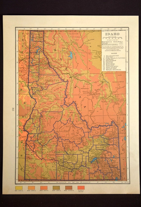 Idaho Map Idaho Topographic Map Colorful Colored Topo | Etsy