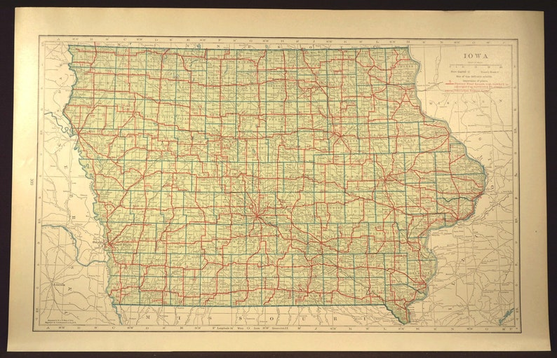 Iowa Map of Iowa Road Map Wall Decor Art LARGE Highway Green Antique  Original Wedding Gift Idea For Him Print