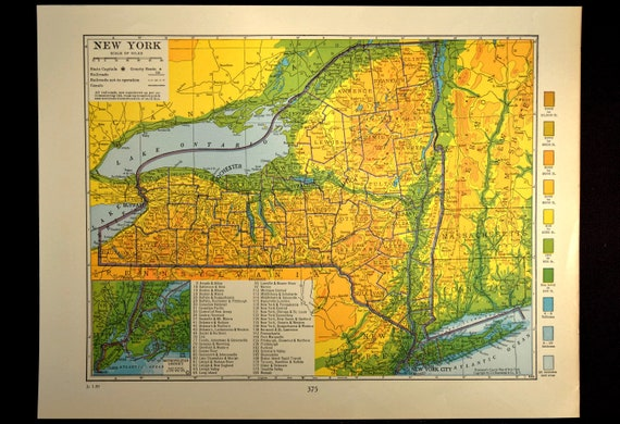 Topographic Map New York State.New York Map Of New York Topographic Map Wall Art Decor Etsy