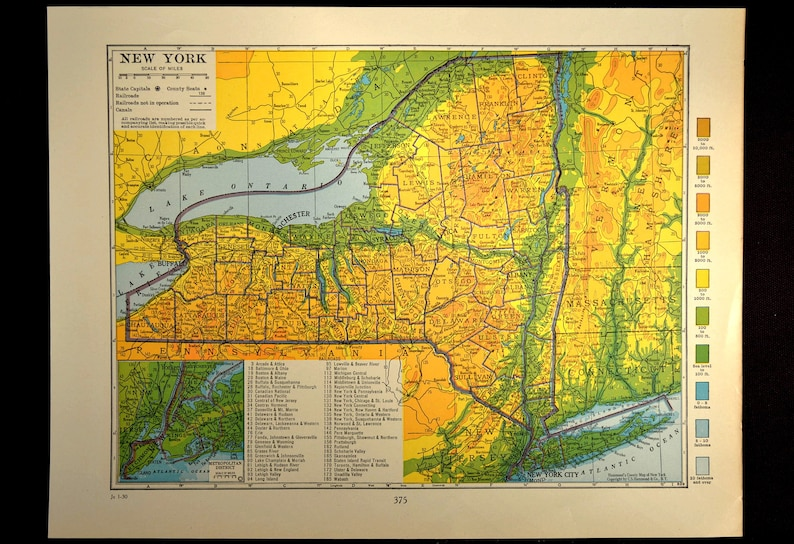 New York Map of New York Topographic Map Wall Art Decor Colorful Colored  Topo Wedding Gift Idea For Him Print