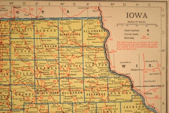 Sumner Iowa Map.Iowa Map Of Iowa Wall Art Decor Railroad Vintage 1940s Etsy