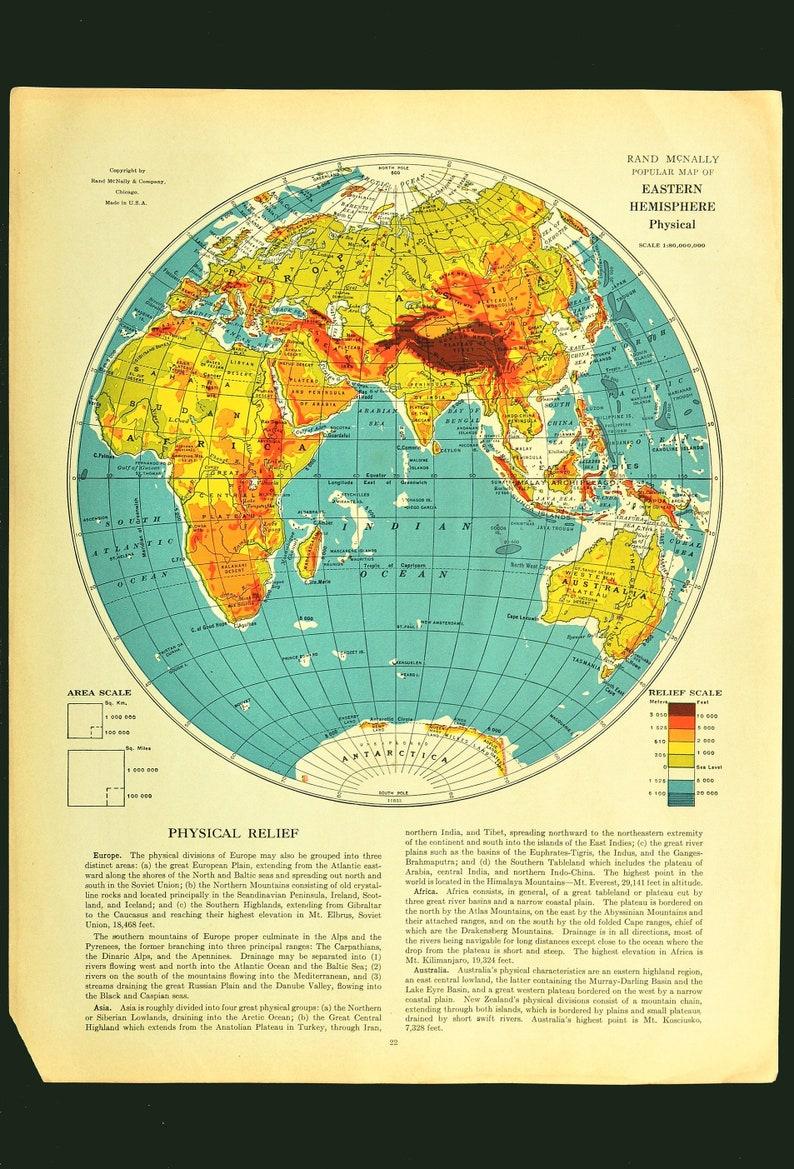 Eastern Hemisphere Map of the Eastern Hemisphere Wall Art Decor World  Europe Asia Antique Original Graduation Gift Wedding Gift Idea For Him