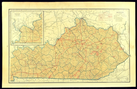 Kentucky Map of Kentucky Wall Art Decor Road Map LARGE Kentucky Highway Map  Antique Original Wedding Gift Idea For Him Print Old