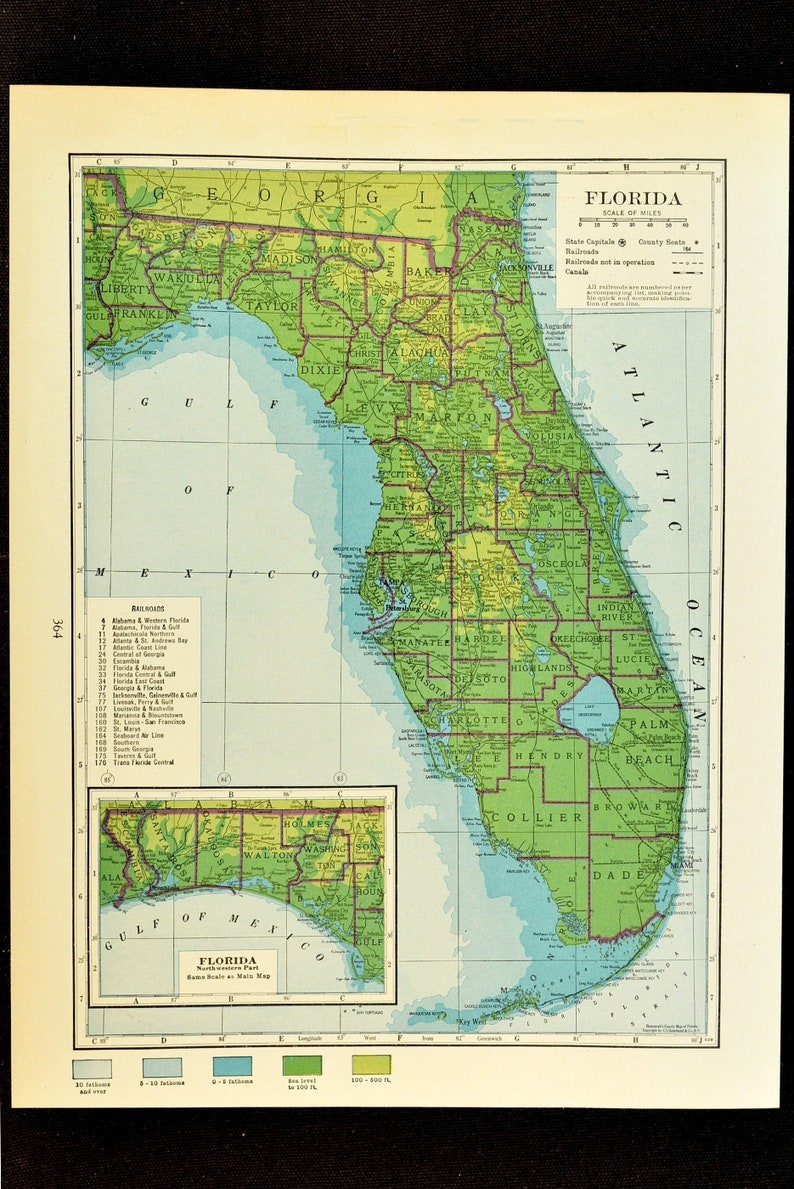 Florida Map of Florida Wall Art Decor Topographic Map Colorful   Etsy