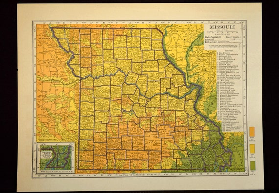 Missouri Map Of Missouri Wall Art Decor Topographic Map Etsy